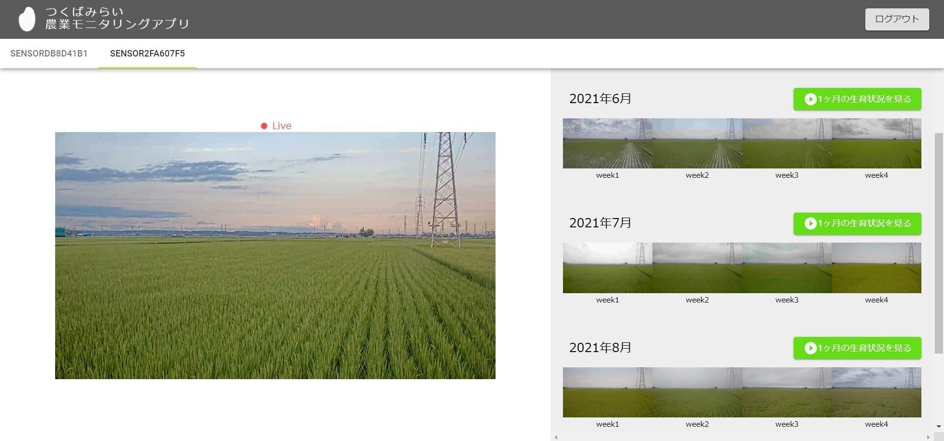 KOTOWARI™上に構築された遠隔監視アプリの画面